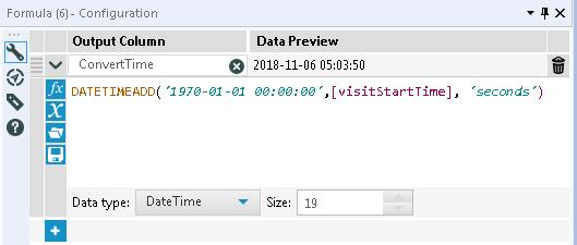 Alteryx DateTime String 変換 UNIX time UNIX時間 日時型 文字型 変換 2