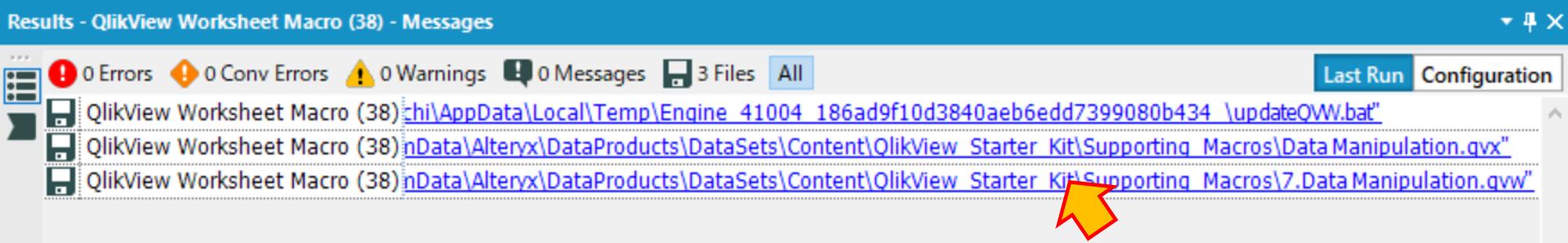 Alteryx Qlik サンプルワークフロー analytic templete starter kit Result画面