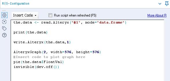Alteryx R Tool アール ツール サンプルワークフロー Configuration画面