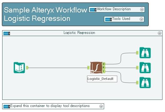Alteryx ロジスティック回帰 Logistic Regression サンプルワークフロー