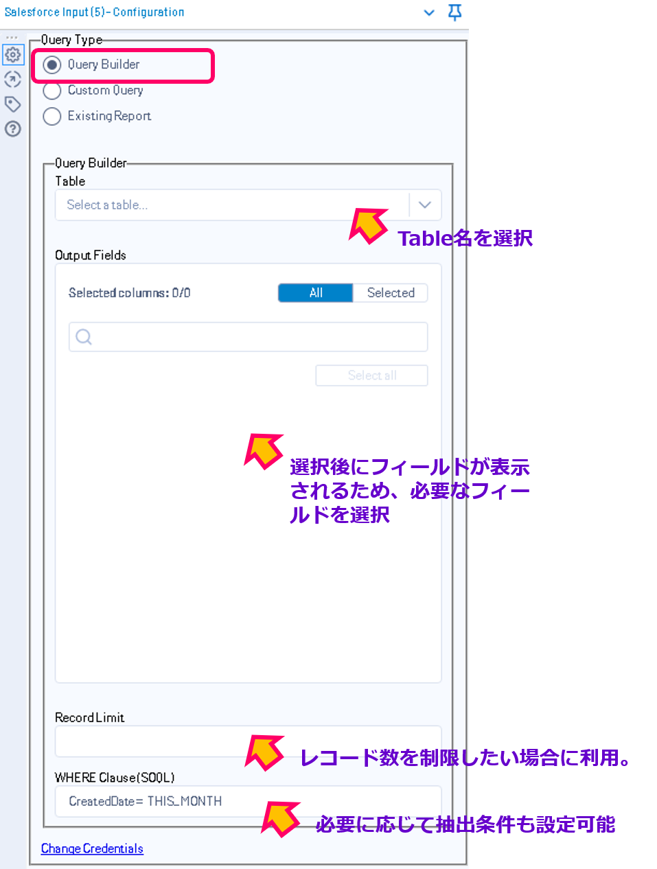 Salesforce Alteryx SalesforceInput Configulation 設定画面 クエリビルダ